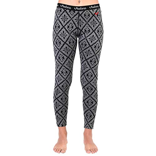 0 Merino Wool Womens Leggings, Thermal Base Layer Bottoms, Pink Gray Pattern - X-Large