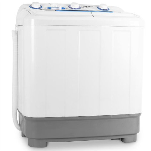 oneConcept DB004 - machine à laver, mini-machine à laver, lave-linge de camping, essoreuse, pour célibataires, étudiants, campeurs, capacité 4,8 kg, 380 W de puissance de lavage, blanc