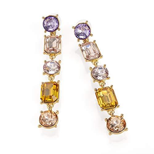 Pendientes de gota de cristal amarillo y lila, 7 cm