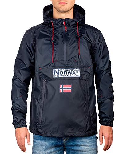 Geographical Norway Chaqueta cortavientos para hombre azul marino XL