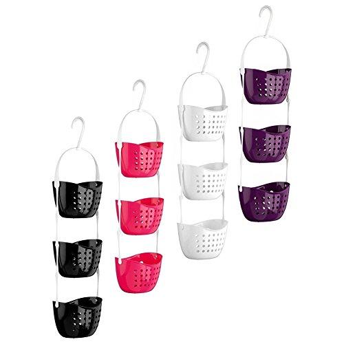 VOOYE 1 cestino da appendere in plastica a 3 ripiani, impermeabile e resistente, per doccia, per il bagno, da appendere alla porta (22 x 15 x 13 cm, viola)