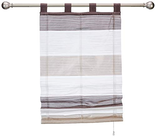 Home fashion - Tenda a rullo con strisce quadrate, motivo GABI, pietra, 130 x 60 cm, 5