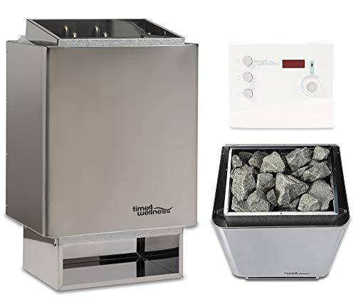Sauna-Set Saunaofen EOS 34.A mit Saunasteuerung und Saunasteine time4wellness (9 kW, Saunasteuerung K2 mit Zeitvorwahl & Digital Display)