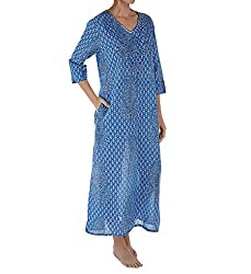 Blue Paisley 100% Cotton Sequin Caftan 3002