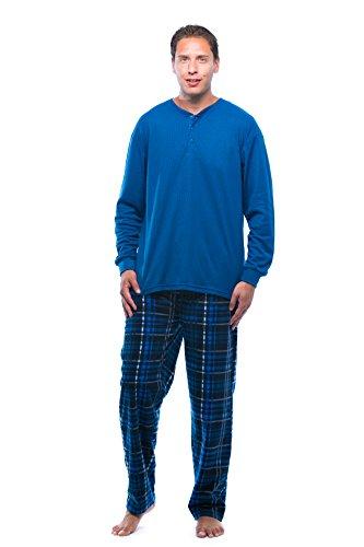 44909-9-XXL #FollowMe Pajama Set for Men with Thermal Henley Top and Polar Fleece Pants / Sleepwear / PJs