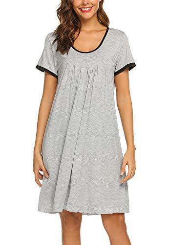Ekouaer Women's Nightgown Modal Sleep Dress Short Sleeve Nightshirt Sleepwear Grey XL