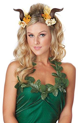 Generique - Faun Hörner Kopfschmuck-Accessoire mit Blumen bunt