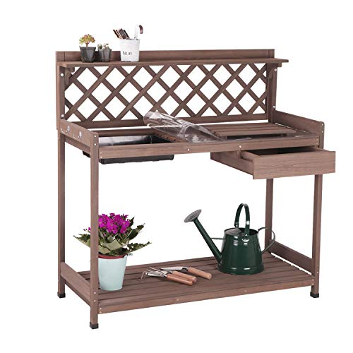 Aivituvin Potting Bench with PVC Layer, Outdoor Gardening Work Bench with Sink & Lid, Wooden...