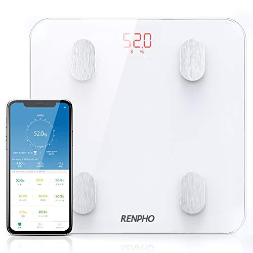 RENPHO 体重計 体組成計 高精度 スマホ連動 体脂肪計 体重/体脂肪率/BMI/皮下脂肪/内臓脂肪/筋肉量/基礎代謝量/骨量/体水分率など測定可能 Bluetooth対応 データ自動グラフ化 ボディスケール iOS/Androidアプリで健康管理・体重管理 ヘルスケア同期 日本語取扱説明書