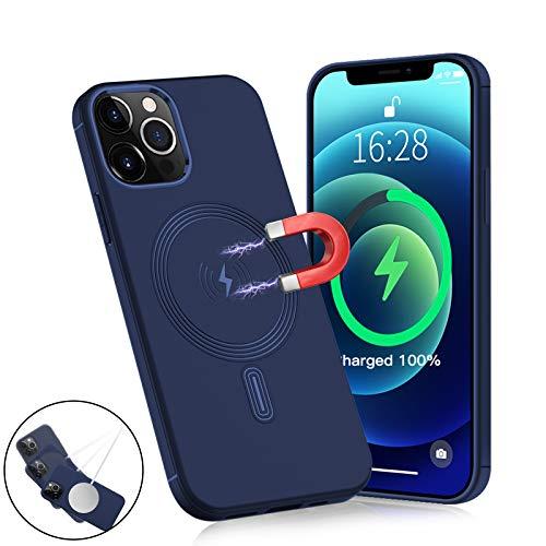 Haobuy Compatibile con Custodia Magnetica per iPhone 12 PRO Max,[Supporto per Caricatore/Portafoglio Wireless] [Cerchio Magnetico Incorporato] Cover Protettiva Antiurto per iPhone 12 PRO Max 6.7'-Blu