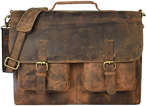 "18"" Inch Retro Buffalo Hunter Leather Laptop Messenger Bag Office Briefcase College Bag Leather Bag for Men and Women (18 inch)"