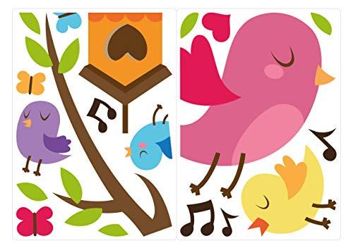 dekodino® Fenstersticker Kinderzimmer Vögel in leuchtenden Farben Set