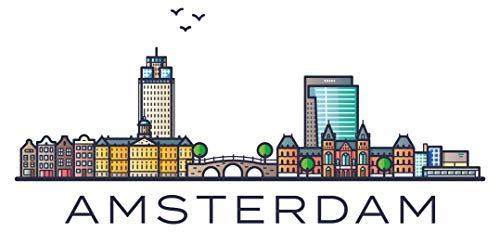 Wandtattoo Wohnzimmer Skyline Wandtattoo Amsterdam mit bunter Stadt und Schrift