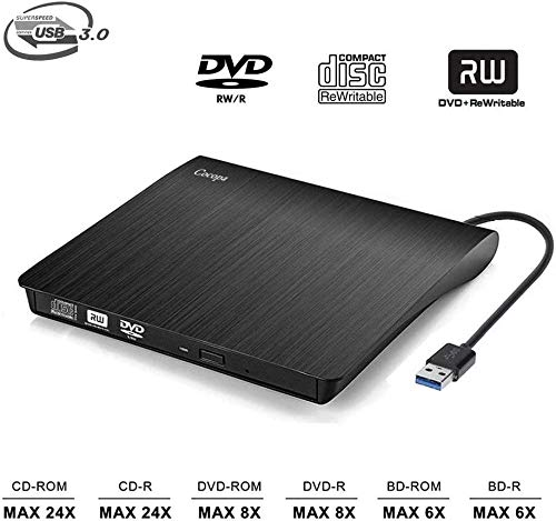 Externes CD DVD Laufwerk, elloLife Portable Slim CD/DVD-RW Brenner für alle Laptops/Desktop,Plug&Play/Niedriger Lärm Kompatibel mit Win10/XP/Win 7/Win 8, Laptop, Mac, MacBook Air/Pro
