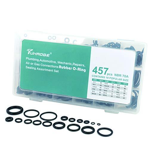 O Ring kit 457 Pcs Hydraulic o Rings 18 Size O Ring Assortment Rubber O-Ring Gasket Assortment Kit (457PCS)