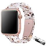 TopPerfekt Correa compatible con Apple Watch de 38/40 mm, ligera e impermeable correa de resina de repuesto con hebilla de acero inoxidable para iWatch Series 6, 5, 4, 3, 2 1 (blanco turrón, 38/40 mm)