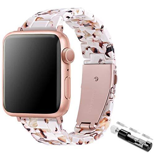 TopPerfekt Correa de resina compatible con Apple Watch, ligera e impermeable, correa de repuesto con hebilla de acero inoxidable para iWatch Series SE 6, 5, 4, 3, 2, 1