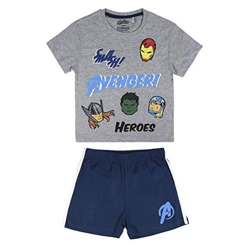 Cerdá Pijama Corto Algodón Avengers Conjuntos, Gris (Gris C13), 4 para Niños