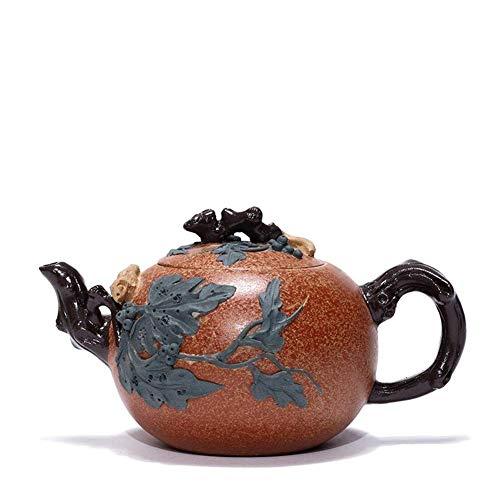 Tetera estilo japonés, Tetera de té taza taza tetera tetera hecha a mano con una ardilla tetera flor portátil púrpura tetera color: Duan Mu, Tamaño: Un tamaño ( Color : Duan Mu , Size : One Size )