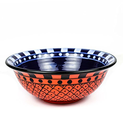 Nagina International Large Deep Blue & Red Hand Painted Beautiful Ceramic Bowls for Soups & Salad | Dinnerware Bowls & Accessories