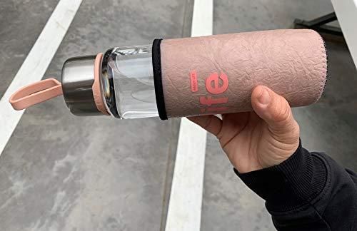 Life Botellas de Agua de Cristal con Funda de Neopreno de 480ml (Rosa)