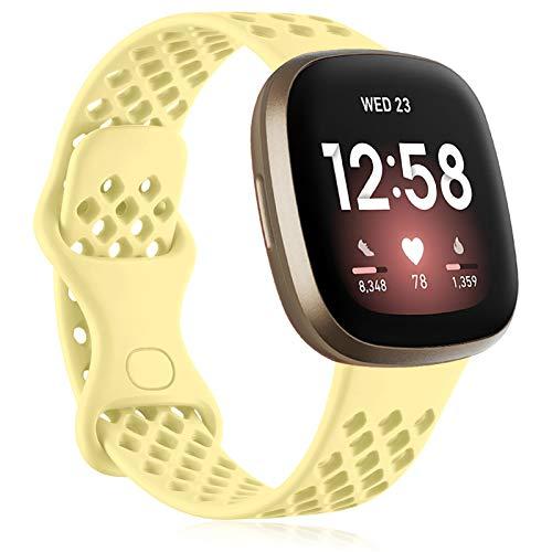 Oielai Correa Compatible con Fitbit Versa 3/Fitbit Sense-Correa de Sustitución de Silicona Blanda Deportiva Fitbit Versa 3/Fitbit Sense, Mujer Hombre Pequeño Grande, Pequeña LecheAmarillo