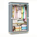 VBGHB Strong Steel Frame Clothes Closet Organizer Storage Garments Portable Wardrobe Fabric Cabinet Cabinet Shelves with Hanger Rack-E L95xH160xW45cm(37x63x18inch)