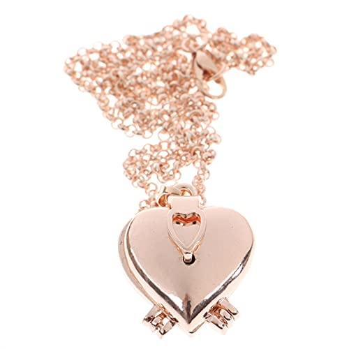 HJURTB Colgante de corazón de Forma Redonda y medallón de Amor para Mujeres, Hombres, Marco de Fotos Que se Puede Abrir, Brillante, Familia, Mascota, Imagen, Collar, Regalo