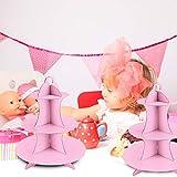 2 Stück Tortenständer aus Karton Etagere 3 Etagen Servierständer Muffinständer, Rosa Cupcake Ständer für Geburtstag Party, Kaffeetafel, Hochzeit, Babypartys - Wiederverwendbar - 2