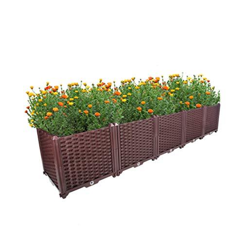 BAOYOUNI Rectangular Raised Garden Bed Kit Indoor Outdoor Plastic Planter Grow Box for Fresh Vegetables, Herbs, Flowers & Succulents, Brown, 76.77'' x 15.35'' x 14.96''