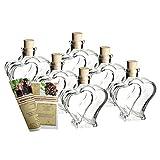 gouveo 6er Set Leere Glasflaschen Herz 200 ml incl. Spitzkorken zum selbst Abfüllen Likörflasche Schnapsflasche, Herzflasche
