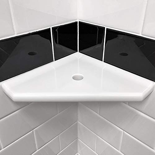 8 inch Corner Shower Shelf - Polished Bright White Wall Mounted Bathroom Organizer Geo Flatback