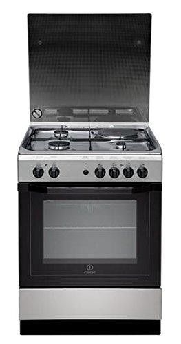 Cuisiniere mixte Indesit I6M6CAGXFR - Inox et noir - Classe énergétique A / Plaque Gaz + électrique / Four Electrique Multifonction - Catalyse avec parois