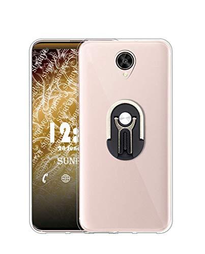 Sunrive Kompatibel mit Meizu Pro 6 Plus Hülle Silikon,Autotelefonhalterung 360°drehbarer Ring Fingerhalter Handyhalter Handyhülle Transparent Schutzhülle Etui Hülle (Schwarz) MEHRWEG