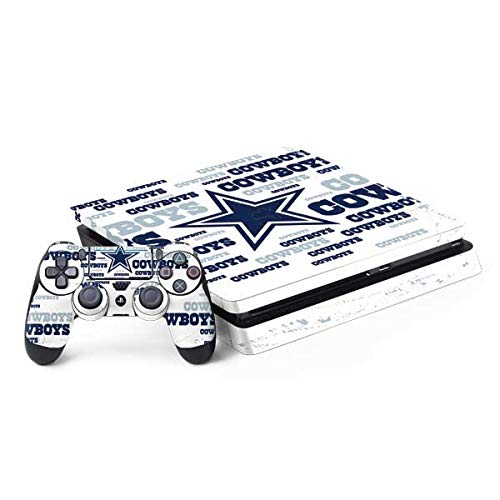 Skinit Decal Gaming Skin Compatible with PS4 Slim Bundle - Officially Licensed NFL Dallas Cowboys Blue Blast Design