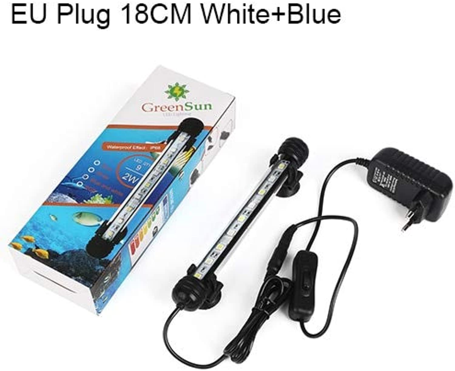 Pukido Aquarium Light Fish Tank LED Lighting Waterproof Submersible Bar Tube Clip Lamp Aquariums Decor Accessories bluee White  (color  White with bluee 18cm)