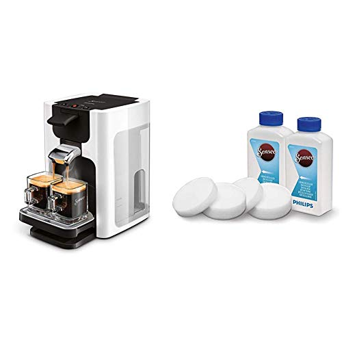 Philips Senseo HD7865/00 Quadrante Kaffeepadmaschine, XL-Wassertank, weiß mit Flüssigentkalker CA6520/00
