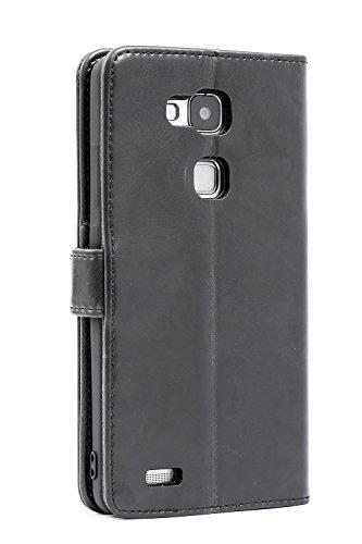 Mulbess Handyhülle für Huawei Ascend Mate 7 Hülle Leder, Huawei Ascend Mate 7 Klapphülle, Huawei Ascend Mate 7 Schutzhülle, Handytasche für Huawei Ascend Mate 7 Tasche, Schwarz - 2