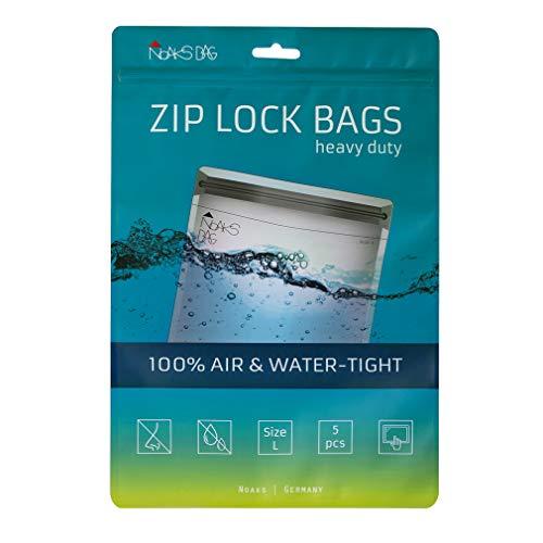 Noaks Bags L / 5 Stück - Schutzhülle/Zip Beutel - 100% wasserdicht 10m, geruchsdicht, lebensmittelsicher