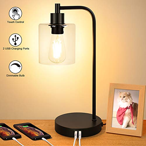 Industrial Touch Control Table Lamp, Dual USB Charging Ports, 3 Way Dimmable Vintage Bedside Nightstand Lamp, Glass Shade Desk Reading Lamp for Bedroom Living Room 6W 2700K LED Edison Bulb Included