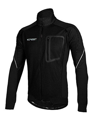 iCREAT Herren Jacke Air Jacket Winddichte Lauf- Fahrradjacke MTB Mountainbike Jacket Visible reflektierend, Fleece Warm Jacket für Herbst, Schwarz Gr.M