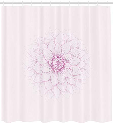 vrupi Dahlia Duschvorhang Close-up Blütenblatt Skizze drucken 71x71inchi waschen wasserdichtes Gewebe einschließlich 12 Kunststoffhaken verdickt Badezimmer Duschvorhang Wohnung Dekoration