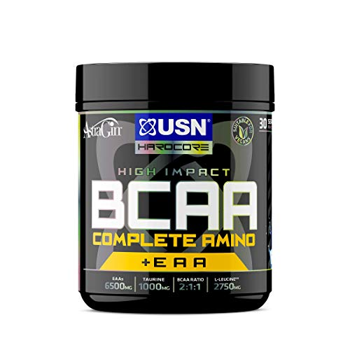 USN BCAA Complete Amino 400 g BCAA powder + EAA: 30 Servings of Tasty Blue Raspberry Flavour