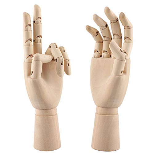 12 Inch Wooden Hand Model Flexible Moveable Fingers Manikin Hand Figure Left/Right Hand Model for Drawing, Sketching, Painting