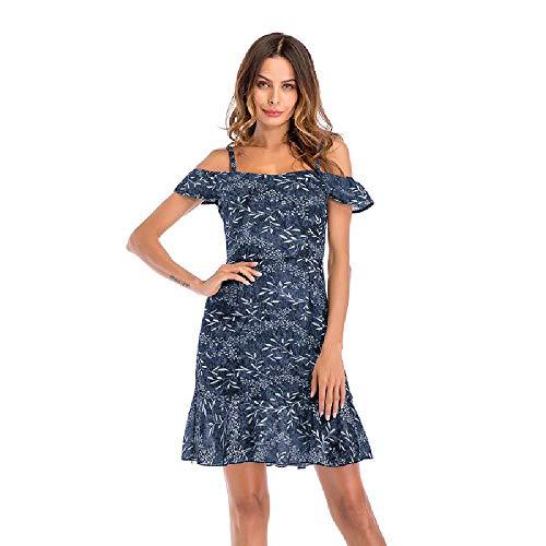 2020 Vestido de Flores con Volantes de Hadas Grandes para Mujer Falda de Gasa con Tirantes Verano Europa y América Pequeño Vestido con Cuello en V Fresco