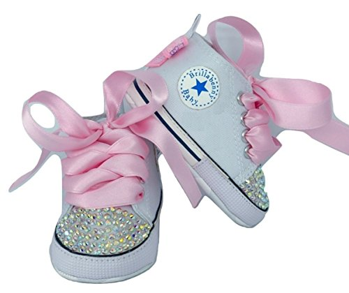 Chaussures pour fille avec strass 12-18 mois - Blanc/Baby Shoes White Birthday Party Events Wedding Gift Rhinestone Crystal AB Luxury Brillabenny