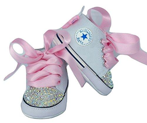Schuhe für Mädchen, Babyschuhe, Kristall, Strass, Babyparty, Geburtstag, Hochzeit, Newborn Crystal AB Schleifen Luxury Brillabenny (0-3 Monate (Sohlenlänge 9,4 cm)