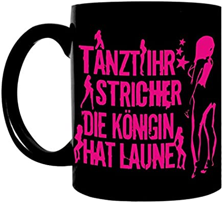 Preisvergleich für Kaffeetasse schwarz 300ml große Tasse bedruckt mit Spruch Die Königin hat Laune PINK