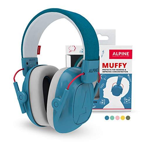 Alpine Muffy Casque Antibruit - Casque Anti Bruit Enfants jusqu'à 16 ans - Casque Anti-Bruit Enfant de Qualité Supérieure - Protection Auditive Confortable avec Un Serre-Tête Réglable - Bleu