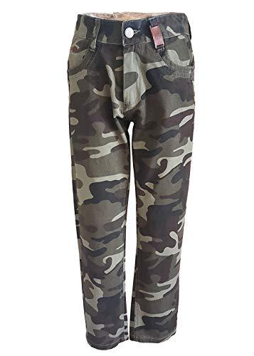 familientrends Army Hose Jungen Kinder Tarnhose Jeans Camouflage Cargo Khaki grün 98 bis 146 (110/116)
